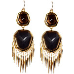 Alexis Bittar Gold smoky quartz and onyx earrings