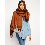 ASOS Oversized Scarf With Stripes - Brown