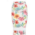 QUIZ LONDON Krémová květinová krepová midi sukně