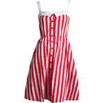 MOTEL Letní červeno-bílé proužkované šaty