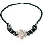 LA FEMME Černý náhrdelník s květinou