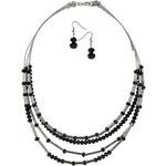 LA FEMME Černý náhrdelník a náušnice