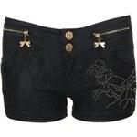 LA FEMME Černé krajkové šortky s ornamentem