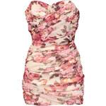 FROCK AND FRILL Růžové květinové korzetové mini šaty