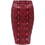 B O O H O O Červená sukně s hadím motivem