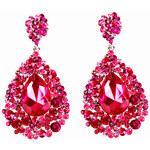 LA FEMME Náušnice s růžovými krystaly