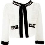 YUMI Bílý kabátek s korálkovým zdobením