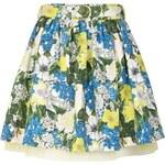 LONDON TIMES Modrá mini sukně s květinovým potiskem