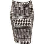 FROCK AND FRILL Černo-bílá midi sukně s kohoutí stopou