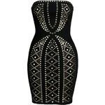 LA FEMME Černé šaty zdobené cvočky