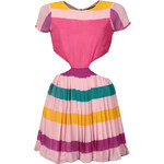 RARE LONDON Růžové pruhované šaty s průstřihy