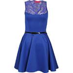 BOOHOO Kobaltově modré skater šaty a krajkou