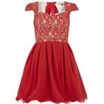 CHI CHI LONDON Luxusní červené skater šaty s krajkou
