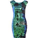 TFNC Modré bodycon šaty s flitry