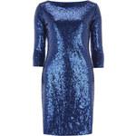 DP Modré flitrové společenské šaty