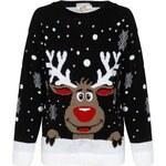 CHIARA Pletený černý vánoční svetr