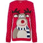 QUIZ LONDON Červený vánoční svetr s jelenem