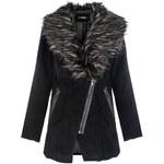 QUIZ LONDON Vlněný kabátek s kožešinovým límcem
