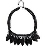 BOOHOO Listový černý náhrdelník Flo