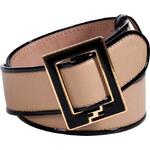 Fendi Camel/Black Leather Belt