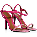 Fendi Camellia/Fuchsia Embossed Leather Sandals