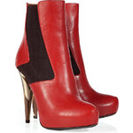 Fendi Magenta Leather Ankle Boot