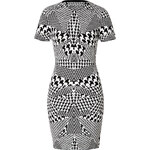 McQ Alexander McQueen Optical Houndstooth Print Dress