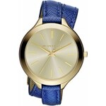 Dámské pozlacené hodinky s modrým páskem Michael Kors