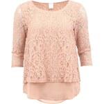 Růžový krajkový top s tříčtvrtečními rukávy Vero Moda Jasmina