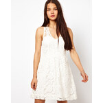 American Retro Lace Skater Dress - Blue