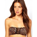 ASOS – Bandeau-Bikinioberteil mit Riemen hinten und Leopardenmuster