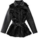 BOOHOO Umělý kožešinový kabát s PU návleky Lina
