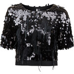 Topshop Limited Edition Sequin and Feather Crop Tee