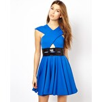 Renee London Lana Skater Dress with Cut Out - Blue