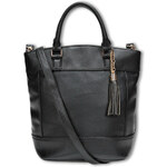 Tally Weijl Black Leather Shopper Bag with Tassel