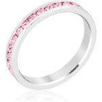 LYRA Prsten s růžovými Swarovski krystaly R01147R-C12