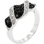 LYRA Prsten s černými a čirými Zirkony R08066T-C03