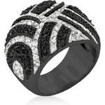 LYRA Prsten s černými a čirými Zirkony R08166R-C03
