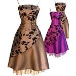 Sofia koktejlky společenské krátké šaty - hnědé, fialové