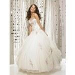 luxusní svatební šaty s růžovou výšivkou Chantal S-L