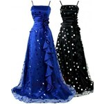 Sofia dlouhé puntíkaté společenské šaty - modré, černé Černá