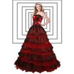 červeno-černé plesové společenské šaty Spain S-M