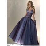 AKCE luxusní modré plesové společenské šaty na maturitní ples Princess M-L