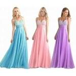 luxusní světle růžové plesové společenské šaty Karen S-M