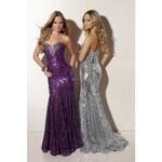 luxusní flitrované plesové společenské fialové šaty Carmen S-M