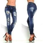 Fashion Módní tmavě modré vyšisované džíny (XS)