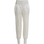 Donna Karan New York Cotton-Silk Harem Pants with Ribbed Waistband