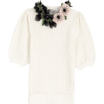 Valentino Cotton Knit Pullover with Decorative Floral Neckline