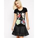 Love Moschino Geisha Girls Short Sleeve T-shirt - Black