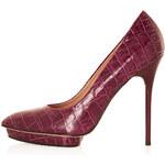 Topshop SODA Croc Platform Court Shoes